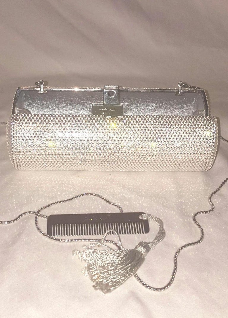 Women's Judith Leiber Clear Crystal Cylinder Clutch Evening Bag For Sale