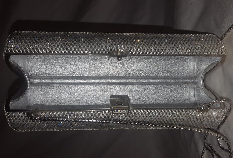 Judith Leiber Clear Crystal Cylinder Clutch Evening Bag For Sale 1