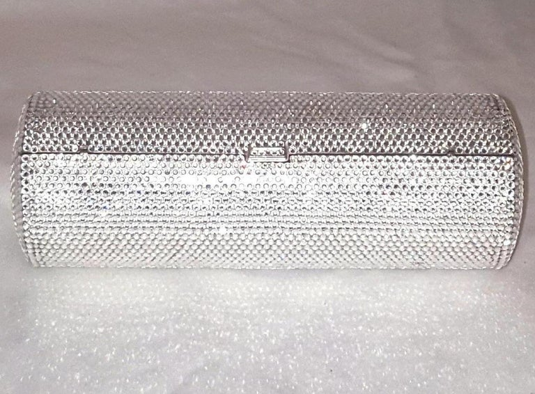 Beige Judith Leiber Clear Crystal Cylinder Clutch Evening Bag For Sale