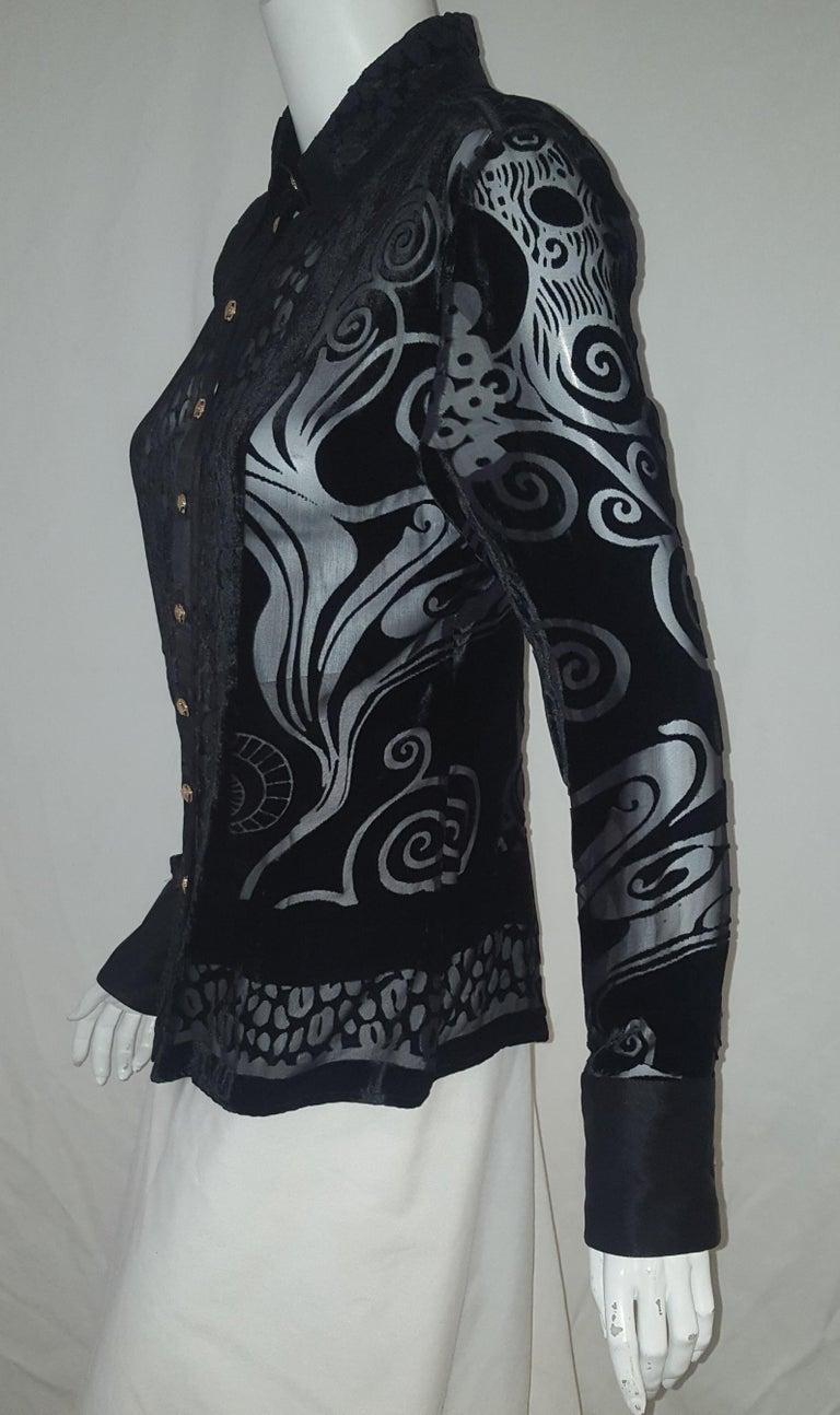 Women's Versace Black Silk Blend Cut Velvet Arabesque Design Long Sleeve Top For Sale