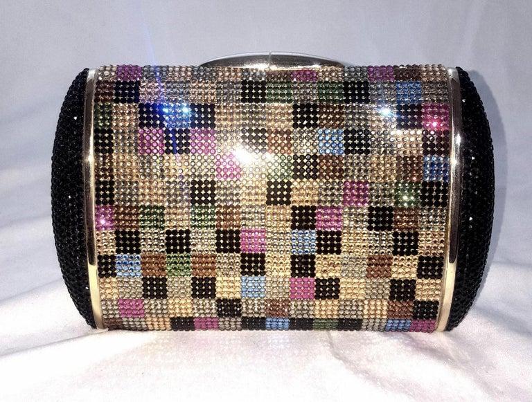 Beige Judith Leiber Multi Color Art Deco 1990's Clutch Convertible  For Sale