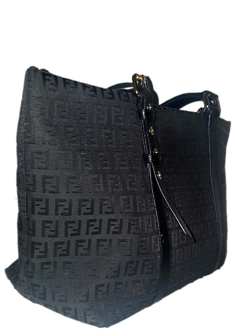 be6240b190d7 Fendi black vintage Zucca monogram canvas tote handbag. Perfect size with  adjustable leather handles and
