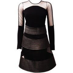 New David Koma Black Silk & Lambskin Sheer Sleeve Layered Dress