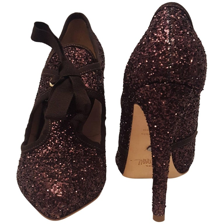 fa72d4ec92b New Jerome C. Rousseau Karnaky Choco Glitter Round Toe Shoes with Grosgrain  Bow For Sale