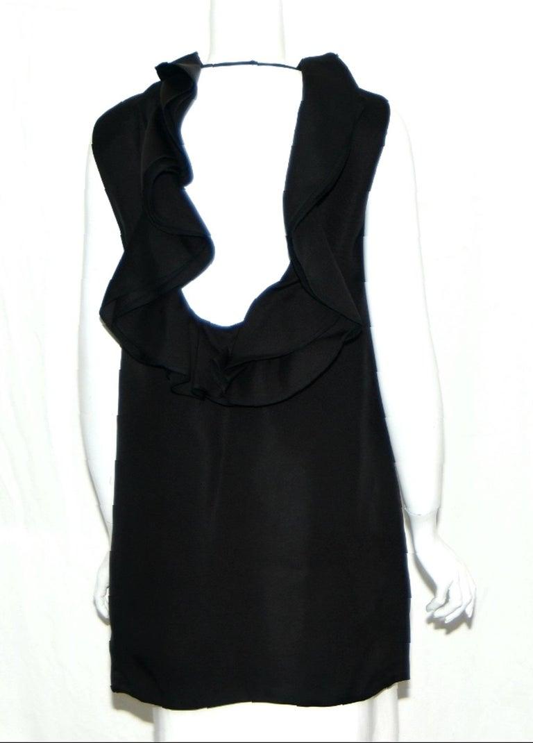 Black   Gucci Ruffle & Backless Dress 44 EU For Sale