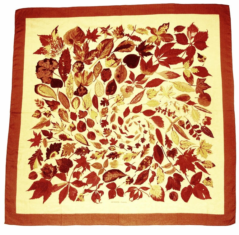 Hermes Tourbillon Cashmere and Silk Fall Leaves Shawl For Sale