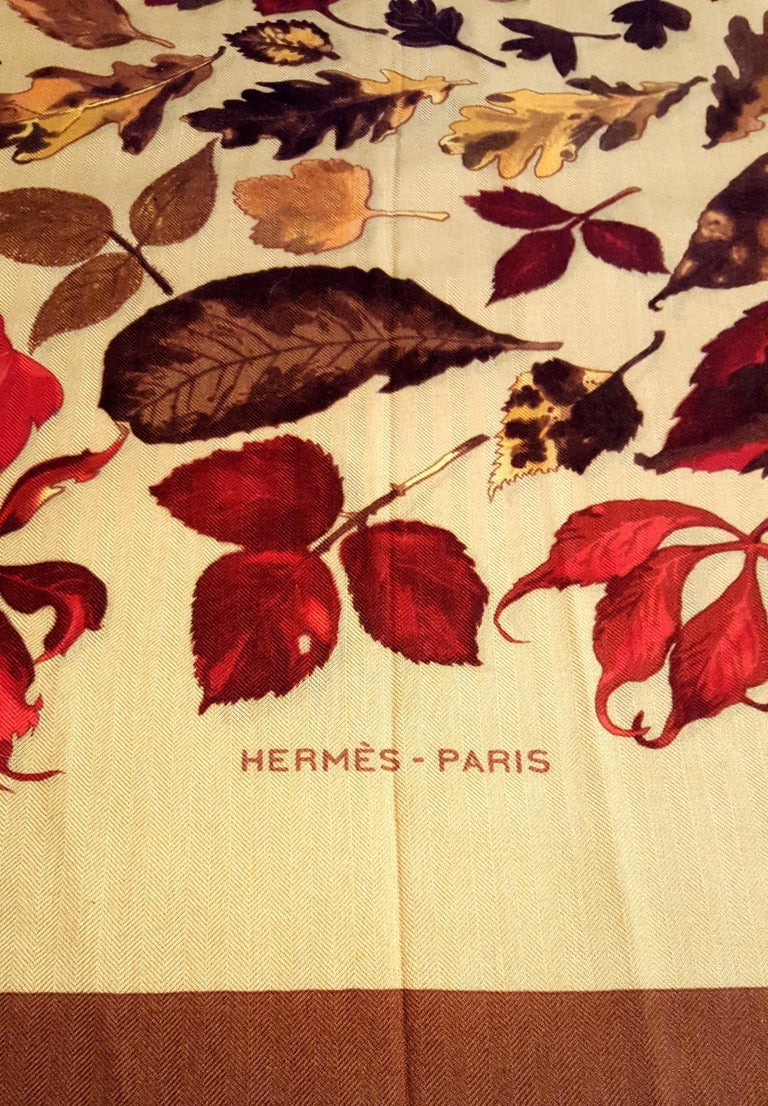 Women's Hermes Tourbillon Cashmere and Silk Fall Leaves Shawl For Sale