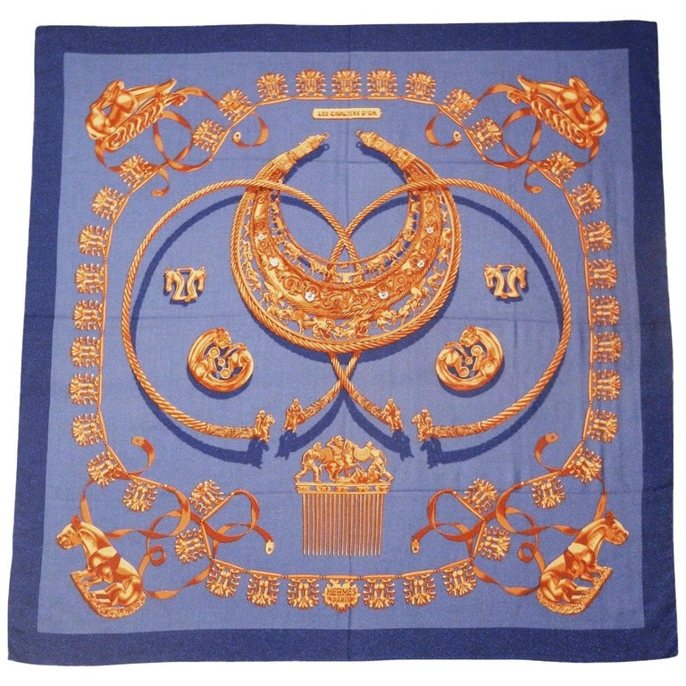 Hermes by Vladimir Rybaltchenko Blue and Gold Tone Les Cavaliers D'Or Shawl  For Sale