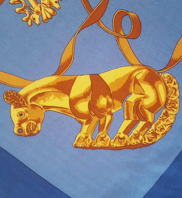 Hermes by Vladimir Rybaltchenko Blue and Gold Tone Les Cavaliers D'Or Shawl  For Sale 1