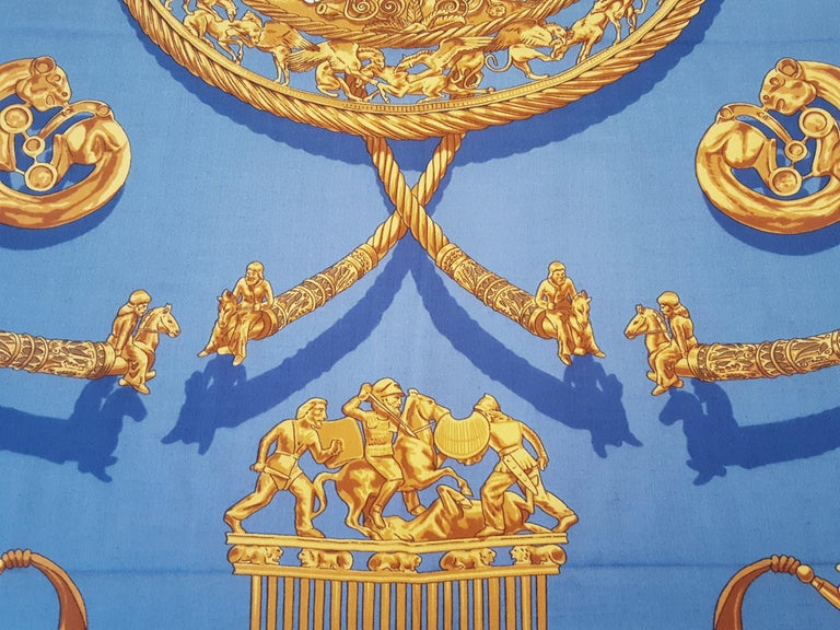 Hermes by Vladimir Rybaltchenko Blue and Gold Tone Les Cavaliers D'Or Shawl  For Sale 2