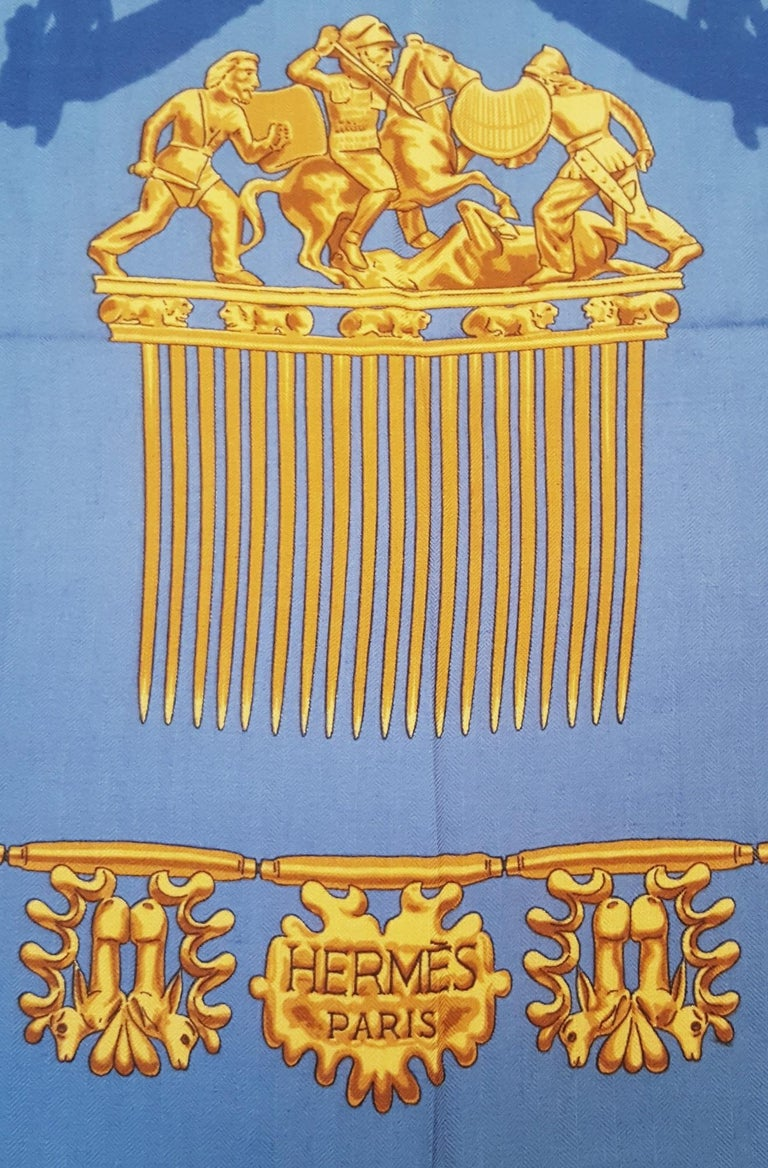 Hermes by Vladimir Rybaltchenko Blue and Gold Tone Les Cavaliers D'Or Shawl  For Sale 3