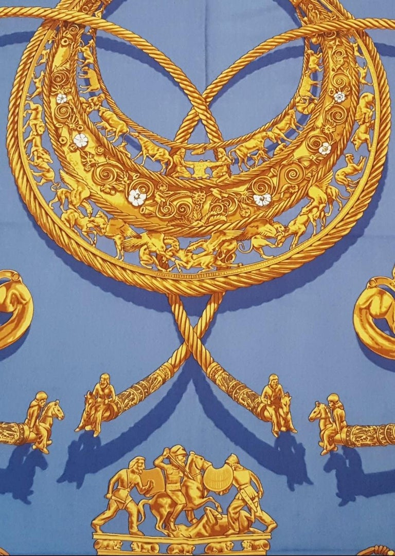 Hermes by Vladimir Rybaltchenko Blue and Gold Tone Les Cavaliers D'Or Shawl  For Sale 4