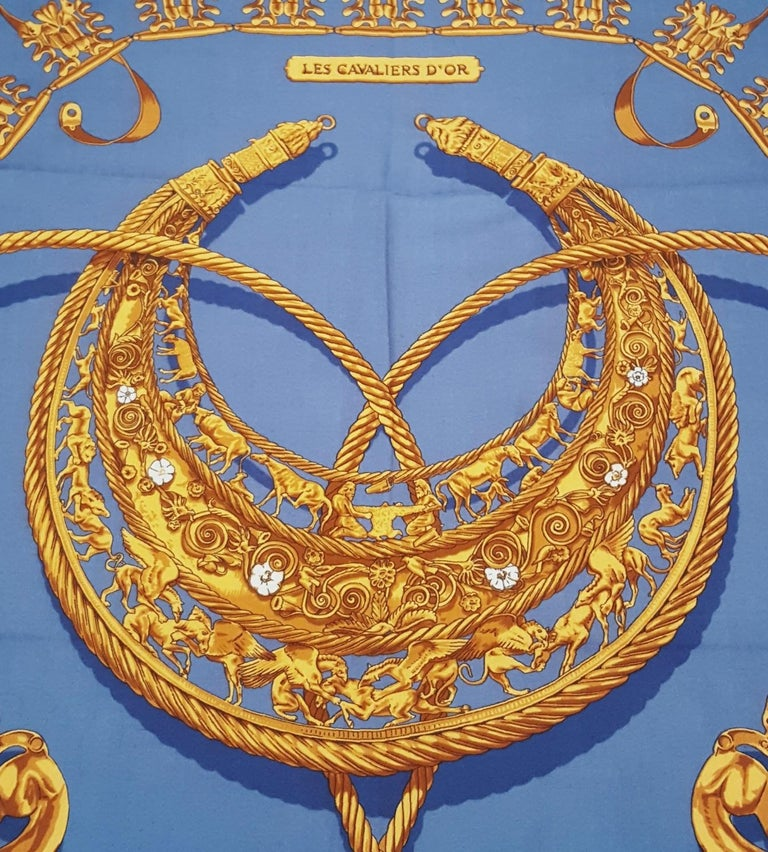 Hermes by Vladimir Rybaltchenko Blue and Gold Tone Les Cavaliers D'Or Shawl  For Sale 6