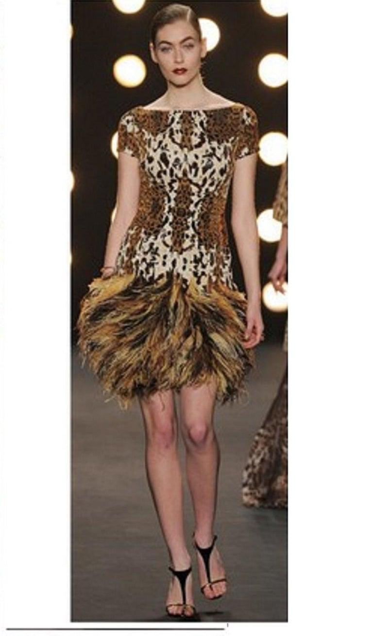 Naeem Khan Leopard Sequin Print Top Dress W/ Ostrich Feathers Skirt 2014 Dress For Sale 1