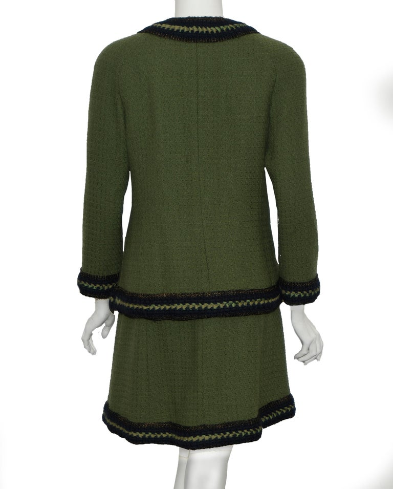 Black Chanel Olive Green Skirt Suit w/ Navy Blue Trim For Sale
