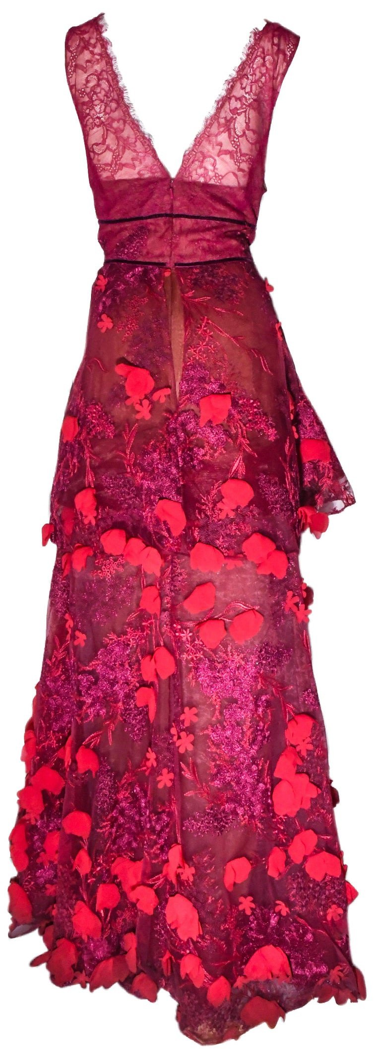 Marchesa Notte Pink Gown with Flower Appliques Throughout In Excellent Condition For Sale In Palm Beach, FL