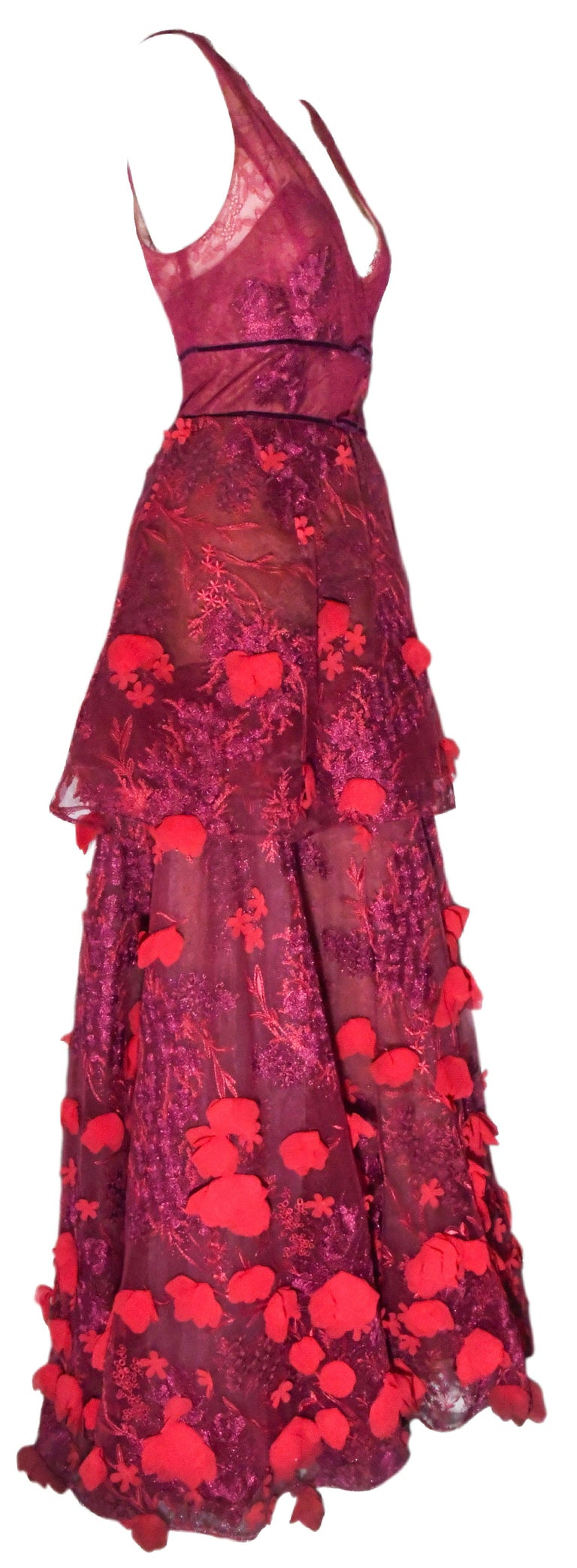 Women's Marchesa Notte Pink Gown with Flower Appliques Throughout For Sale