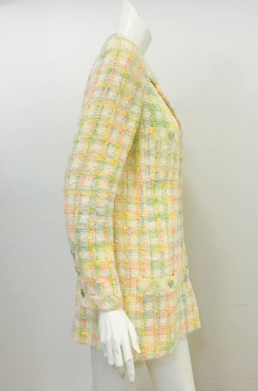 Chanel 1996 Spring Pastel Wool Blend Tweed Jacket At 1stdibs