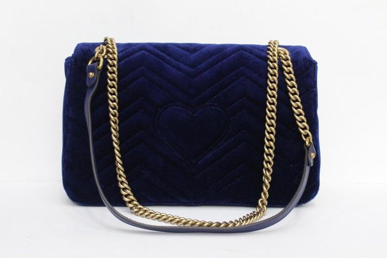 c2c62b93e7a Black Gucci Blu Marmont Velvet Bag For Sale