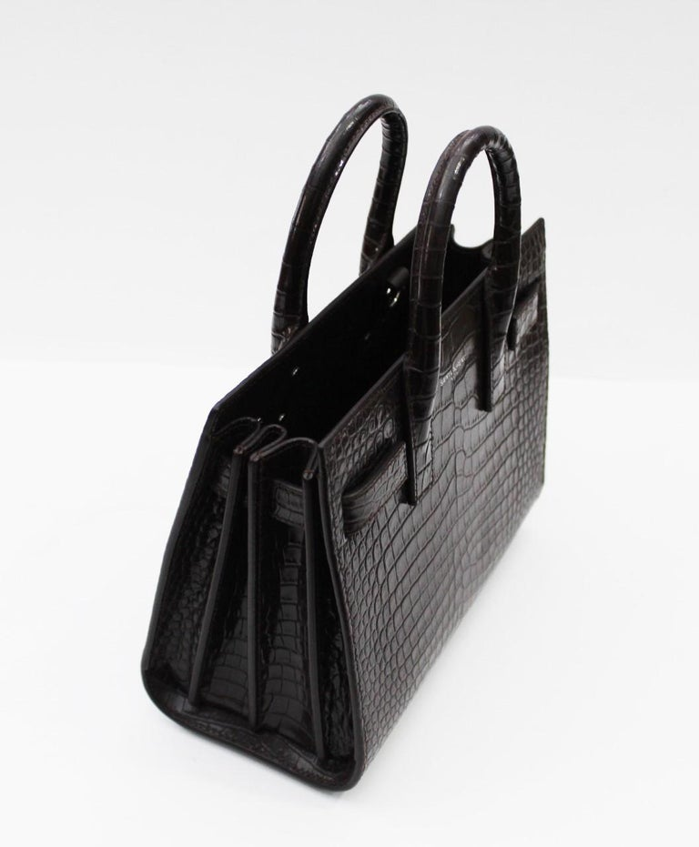 Yves Saint Laurent Burgundy Crocodile Embossed Leather Nano Sac De Jour Bag  In New Condition For Sale In Torre Del Greco, IT