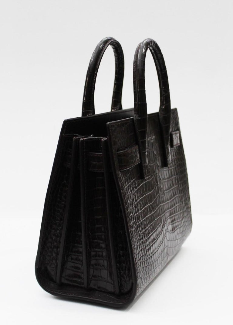 Women's Yves Saint Laurent Burgundy Crocodile Embossed Leather Nano Sac De Jour Bag  For Sale