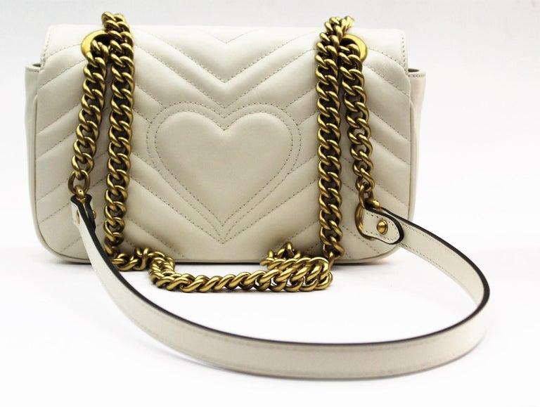 78d722e63d0c7a Gucci Mini Marmont White Leather Crossbody Bag In New Condition For Sale In Torre  Del Greco