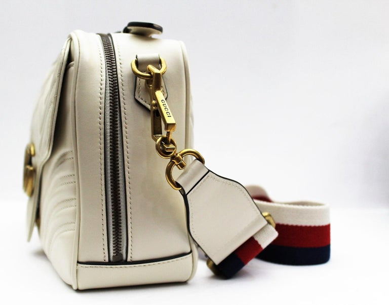 1fc4a2274842b1 Gucci White Leather Shoulder Marmont Bag In New Condition For Sale In Torre  Del Greco,