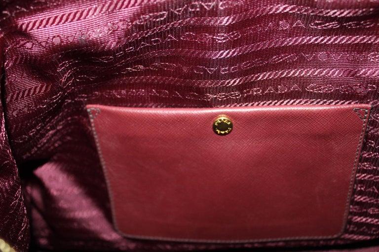 Prada Bordeaux Leather Shoulder Bag For Sale 7
