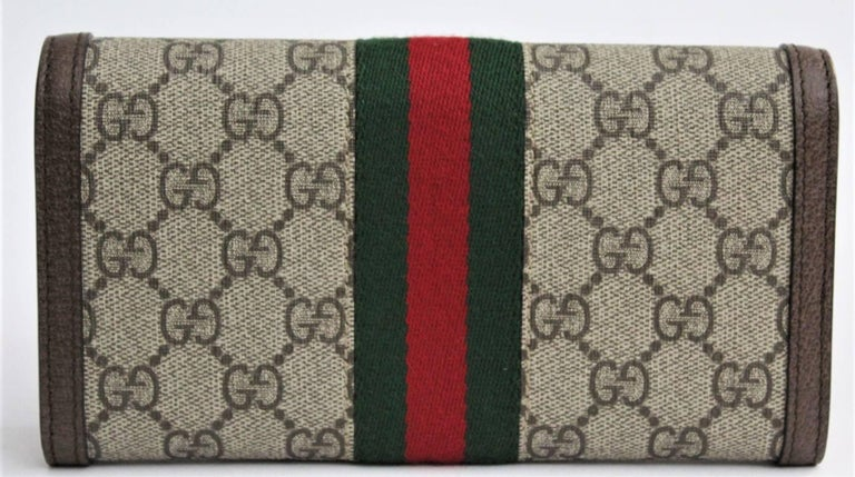 08b4003ed6a Gucci Ophidia GG continental wallet For Sale. The continental wallet  combines the signature motif with the Web stripe—a timeless pairing that