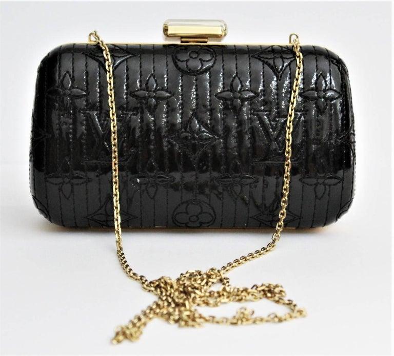 b45cd97d61c5 LOUIS VUITTON Limited Edition Black Vernis Monogram Minaudiere Motard Clutch  Bag In Excellent Condition For Sale