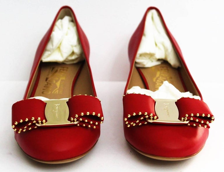 08f0139d289 Salvatore Ferragamo Red Shoes Vara Bow In New Condition For Sale In Torre  Del Greco