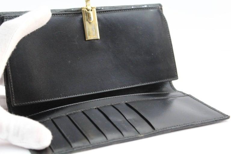 Vintage Gucci Black Crocodile Leather Wallet  For Sale 1