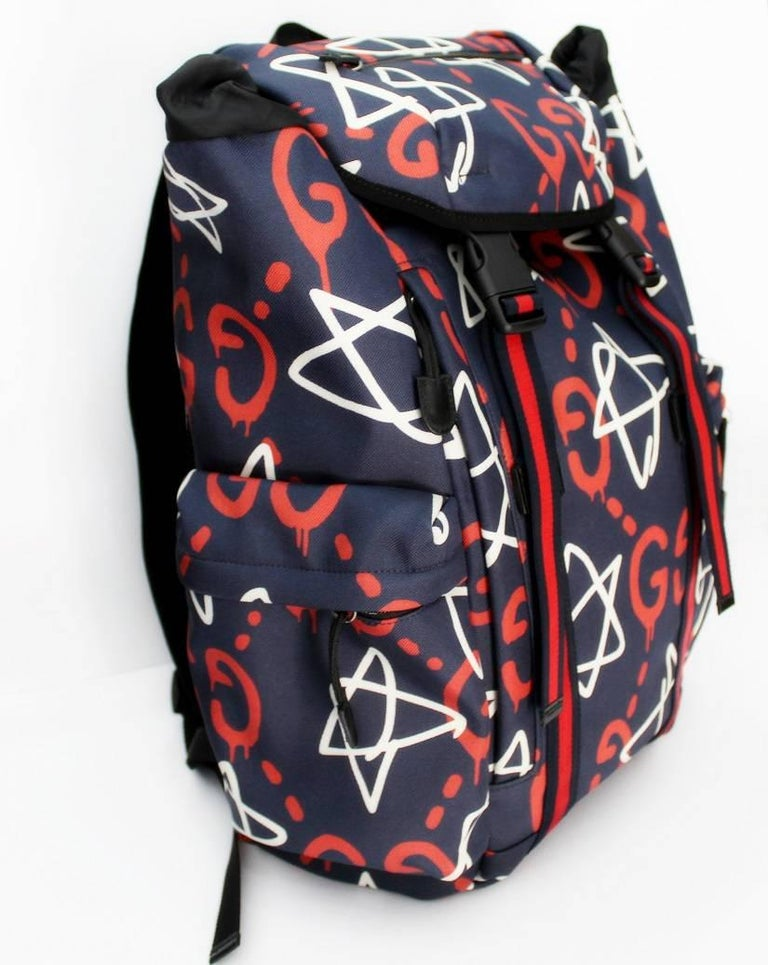 0c86ce254b6 Black Gucci Ghost Graffiti Backpack For Sale