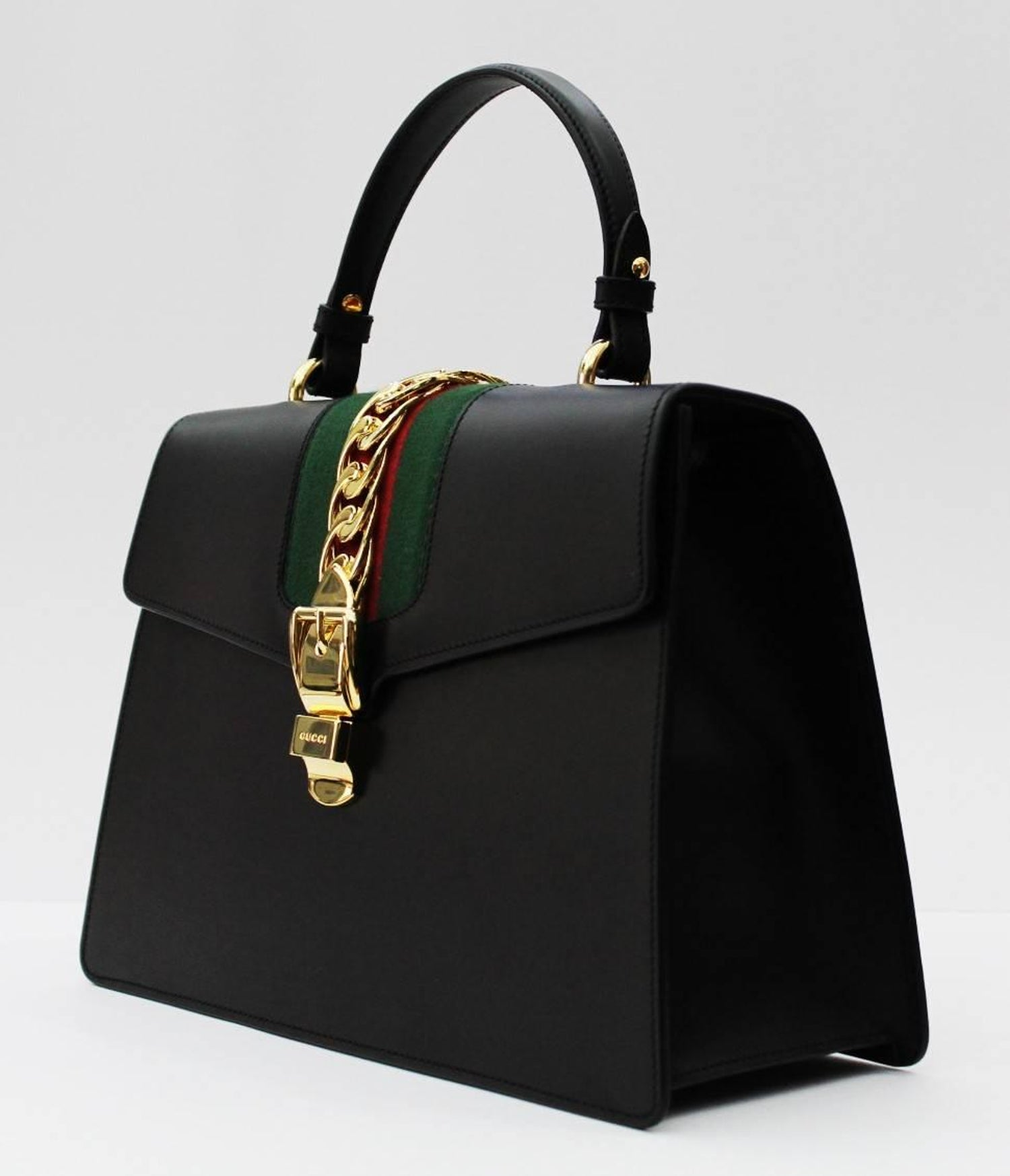2967f8accbc Sylvie Medium Black Leather top handle bag at 1stdibs