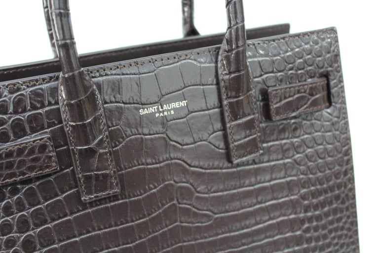 Yves Saint Laurent Burgundy Crocodile Embossed Leather Nano Sac De Jour Bag  For Sale 1