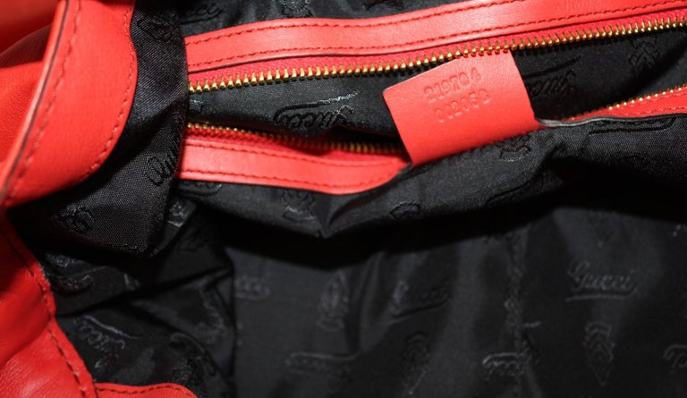 Gucci Red Leather Shoulder Bag For Sale 4