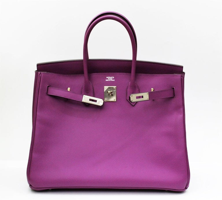 The beautiful combination of Cyclamen colors (purple) and palladium (silver-color) make this Birkin 35 of Hermès breathtaking. Made of grainy Epsom with a slight luster, it is absolutely a timeless beauty. Equipped with original Hermès dust bag,