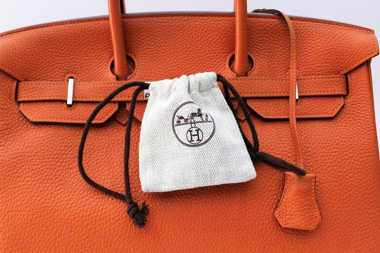 Hermès Birkin 35 Orange Togo Top Handle Bag In Excellent Condition For Sale In Torre Del Greco, IT