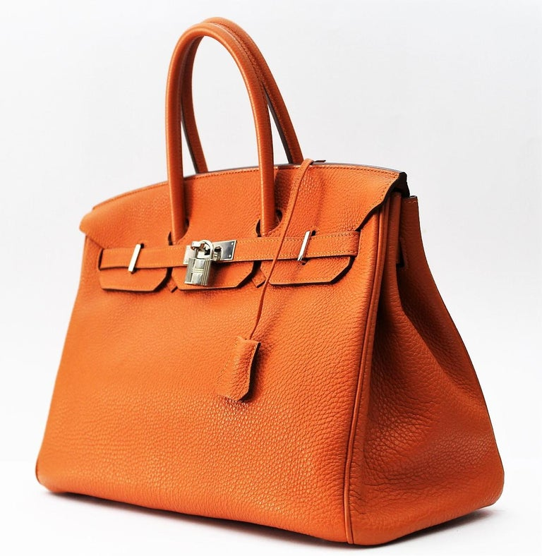 Hermès Birkin 35 Orange Togo Top Handle Bag For Sale 3