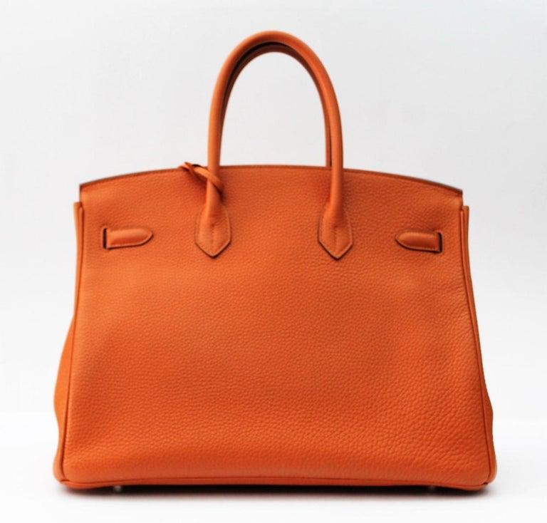 Hermès Birkin 35 Orange Togo Top Handle Bag For Sale 4