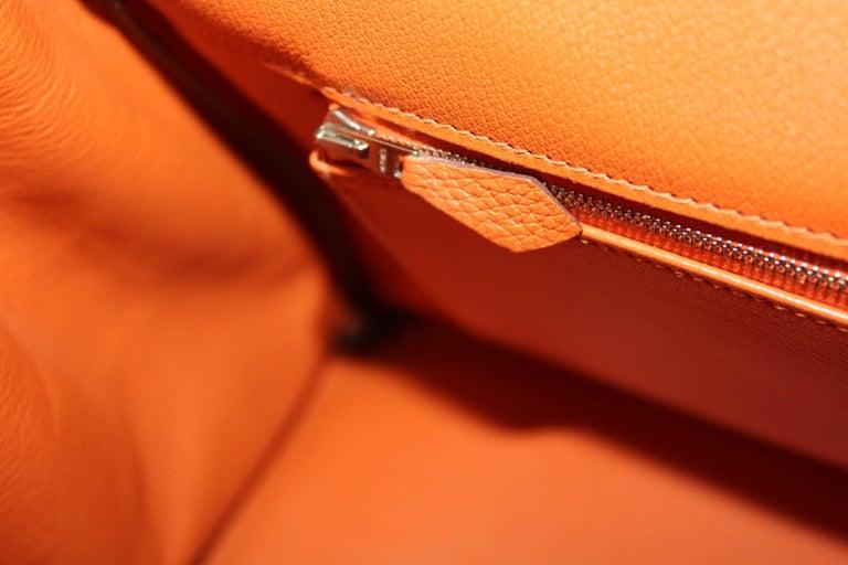 Hermès Birkin 35 Orange Togo Top Handle Bag For Sale 6