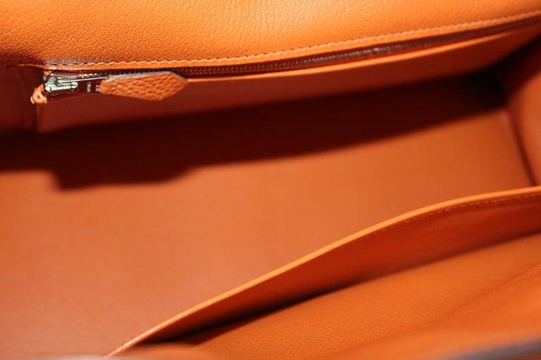 Hermès Birkin 35 Orange Togo Top Handle Bag For Sale 7