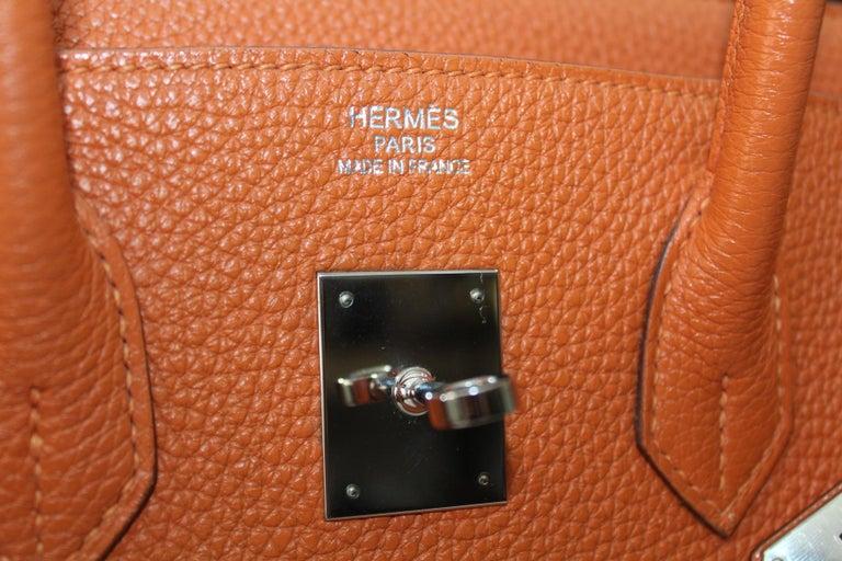 Hermès Birkin 35 Orange Togo Top Handle Bag For Sale 8