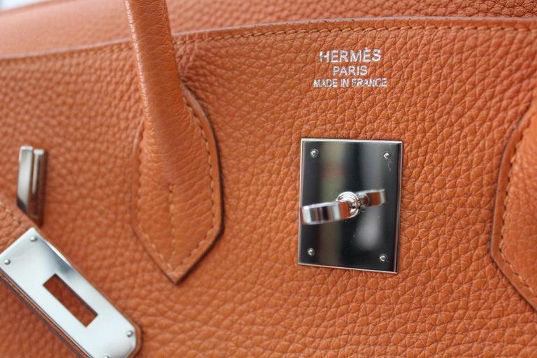 Hermès Birkin 35 Orange Togo Top Handle Bag For Sale 9