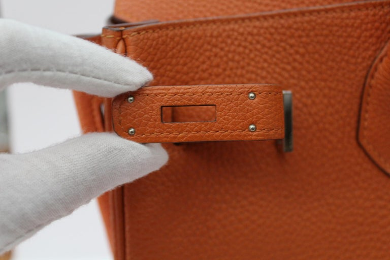 Hermès Birkin 35 Orange Togo Top Handle Bag For Sale 10