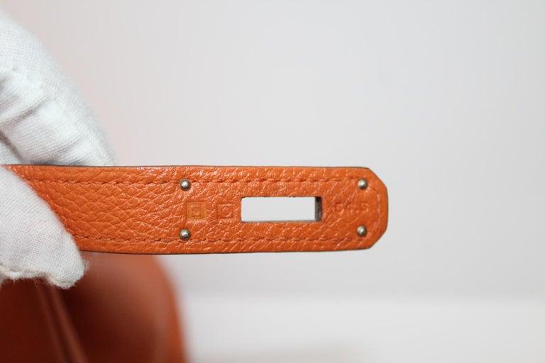 Hermès Birkin 35 Orange Togo Top Handle Bag For Sale 11