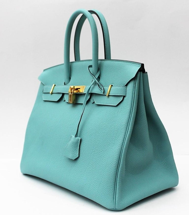 2669d68859c Hermes Blue Atoll 35cm of togo leather with gold hardware. This Birkin has  tonal stitching