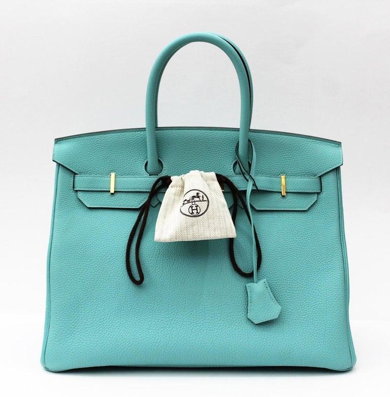 11674259c878 Hermès Blue Atoll Togo Gold Hardware Top Handle Birkin 35 Bag For Sale 10