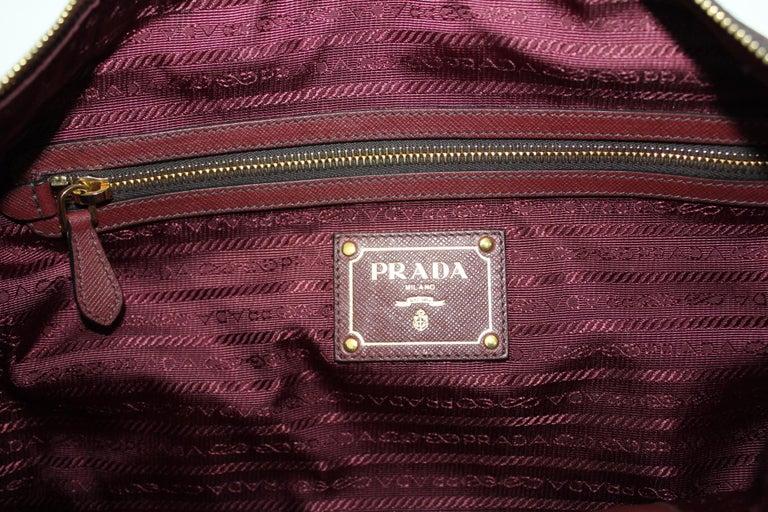 Prada Bordeaux Leather Shoulder Bag For Sale 4