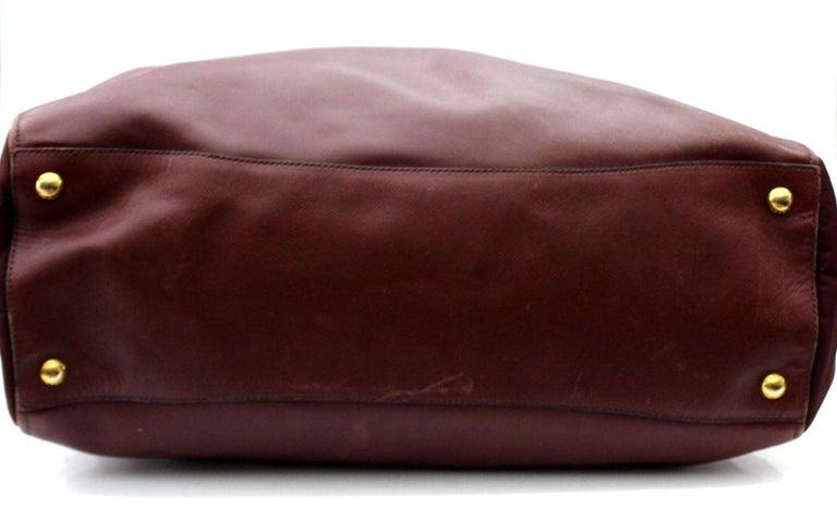 Prada Bordeaux Leather Shoulder Bag For Sale 2